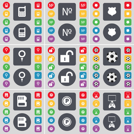 game console: Mobilephone, Number, Badge, Checkpoint, Lock, Ball, SIM card, Parking, Game Console icon symbol. A large set of flat, colored buttons for your design. Vector illustration Illustration