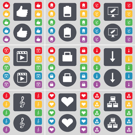 media player: Like, Battery, Monitor, Media player, Suitcase, Arrow down, Clef, Heart, Network icon symbol. A large set of flat, colored buttons for your design. Vector illustration