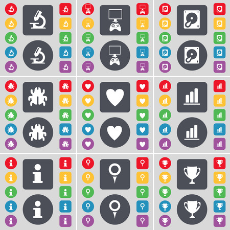 game console: Microscope, Game console, Hard drive, Bug, Heart, Diagram, Information, Checkpoint, Cup icon symbol. A large set of flat, colored buttons for your design. Vector illustration Illustration
