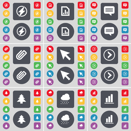 chat bubble vector: Flash, Diagram, Chat bubble, Clip, Cursor, Arrow right, Firtree, Cloud, Diagram icon symbol. A large set of flat, colored buttons for your design. Vector illustration Illustration