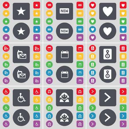 arrow right icon: Star, New, Heart, SMS, Calendar, Speaker, Disabled person, Avatar, Arrow right icon symbol. A large set of flat, colored buttons for your design. Vector illustration Illustration