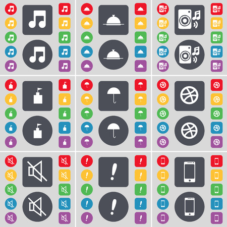 note of exclamation: Note, Tray, Speaker, Flag tower, Umbrella, Ball, Mute, Exclamation mark, Smartphone icon symbol. A large set of flat, colored buttons for your design. Vector illustration