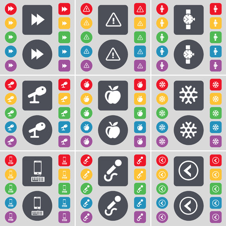 arrow left icon: Rewind, Warning, Wrist watch, Microphone, Apple, Snowflake, Smartphone, Arrow left icon symbol. A large set of flat, colored buttons for your design. Vector illustration