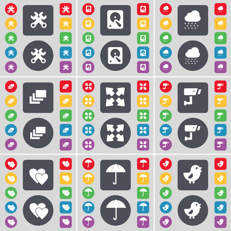 hard drive: Wrench, Hard drive, Cloud, Gallery, Full screen, CCTV, Heart, Umbrella, Bird icon symbol. A large set of flat, colored buttons for your design. Vector illustration