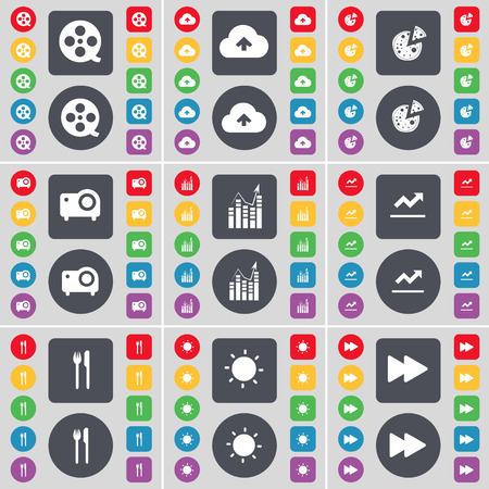 videotape: Videotape, Cloud, Pizza, Camera, Graph, Fork and knife, Light, Rewind icon symbol. A large set of flat, colored buttons for your design. Vector illustration Illustration