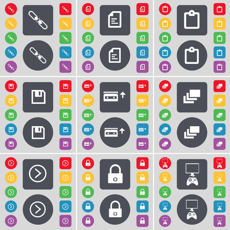 game console: Link, Text file, Survey, Floppy, Cassette, Gallery, Arrow right, Lock, Game console icon symbol. A large set of flat, colored buttons for your design. Vector illustration Illustration