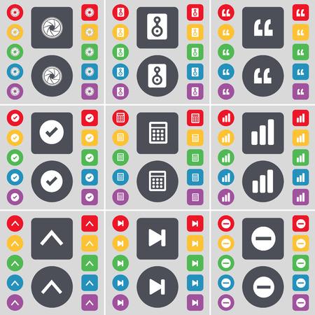 skip: Lens, Speaker, Quotation mark, Tick, Calculator, Diagram, Arrow up, Media skip, Minus icon symbol. A large set of flat, colored buttons for your design. Vector illustration