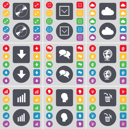 freccia giù: Disk, Arrow down, Cloud, arrow down, Chat bubble, Globe, Diagram, Silhouette, Trash can icon symbol. A large set of flat, colored buttons for your design. Vector illustration Vettoriali