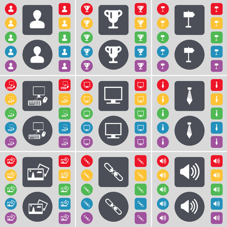 pc monitor: Avatar, Cup, Signpost, PC, Monitor, Tie, Picture, Link, Sound icon symbol. A large set of flat, colored buttons for your design. Vector illustration