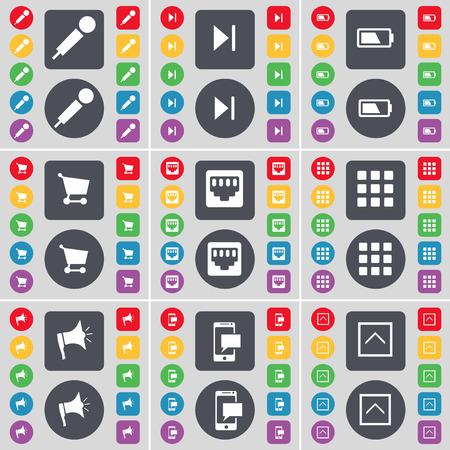 lan: Microphone, Media skip, Battery, Shopping cart, LAN socket, Apps, Megaphone, SMS, Arrow up icon symbol. A large set of flat, colored buttons for your design. Vector illustration Illustration