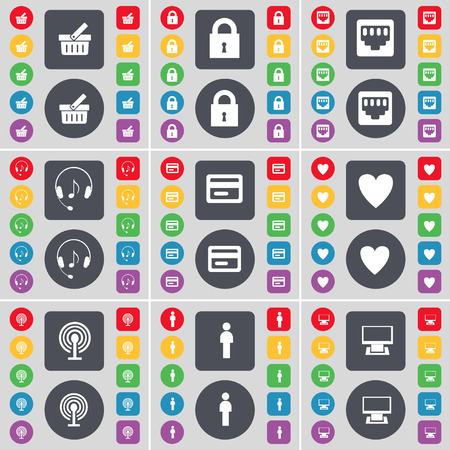 lan: Basket, Lock, LAN socket, Hadphones, Credit card, Heart, Wi-Fi, Silhouette, Monitor icon symbol. A large set of flat, colored buttons for your design. Vector illustration Illustration