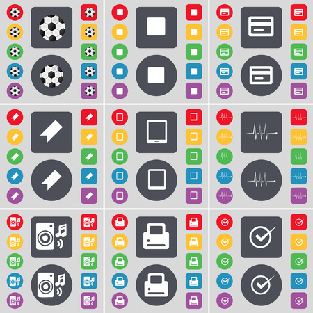 card stop: Ball, Media stop, Credit card, Marker, Tablet PC, Pulse, Speaker, Printer, Tick icon symbol. A large set of flat, colored buttons for your design. Vector illustration Illustration