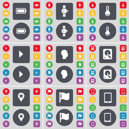disco duro: Bater�a, reloj, term�metro, Media Play, Silueta, Disco duro, Checkpoint, Bandera, Tablet PC icono de s�mbolo. Un gran conjunto de planos botones, colores para su dise�o. Ilustraci�n vectorial