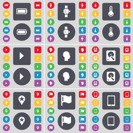 hard drive: Battery, Wrist watch, Thermometer, Media play, Silhouette, Hard drive, Checkpoint, Flag, Tablet PC icon symbol. A large set of flat, colored buttons for your design. Vector illustration