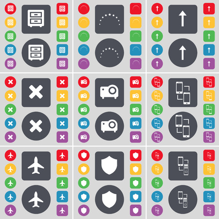 bedtable: Bed-table, Stars, Arrow up, Stop, Projector, Connection, Airplane, Badge icon symbol. A large set of flat, colored buttons for your design. Vector illustration Illustration