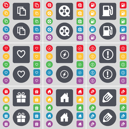 videotape: Copy, Videotape, Gas station, Heart, Flash, Information, Gift, House, Pencil icon symbol. A large set of flat, colored buttons for your design. Vector illustration