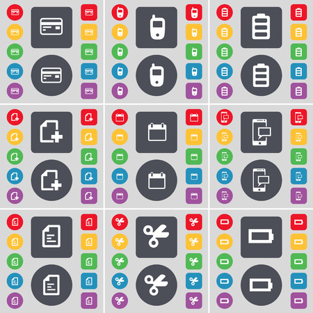 sms text: Credit card, Mobile phone, Battery, File, Calendar, SMS, Text file, Scissors icon symbol. A large set of flat, colored buttons for your design. Vector illustration