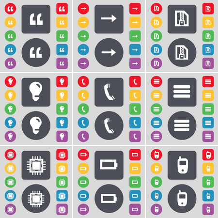 mobile phone icon: Quotation mark, Arrow right, ZIP file, Light bulb, Receiver, Apps, Processor, Battery, Mobile phone icon symbol. A large set of flat, colored buttons for your design. Vector illustration