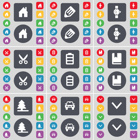 arrow down icon: House, Pencil, Wrist watch, Scissors, Battery, Dictionary, Firtree, Car, Arrow down icon symbol. A large set of flat, colored buttons for your design. Vector illustration