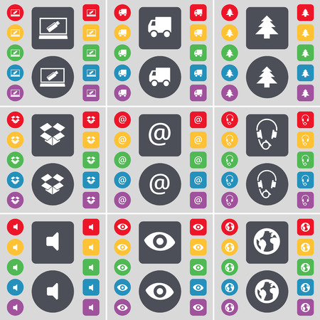 dropbox: Laptop, Truck, Firtree, Dropbox, Mail, Headphones, Sound, Vision, Earth icon symbol. A large set of flat, colored buttons for your design. Vector illustration Illustration
