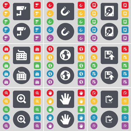 floppy drive: CCTV, Magnet, Hard drive, Keyboard, Earth, Floppy, Magnifying glass, hand, Survey icon symbol. A large set of flat, colored buttons for your design. Vector illustration Illustration