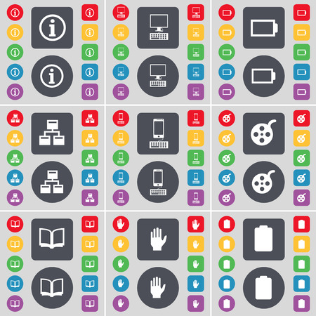 videotape: Information, PC, Battery, Network, Smartphone, Videotape, Book, Hand, Battery icon symbol. A large set of flat, colored buttons for your design. Vector illustration