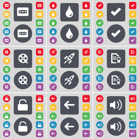 videotape: Cassette, Drop, Tick, Videotape, Rock, Text file, Lock, Arrow left, Sound icon symbol. A large set of flat, colored buttons for your design. Vector illustration Illustration