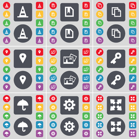 full screen: Cone, Flag, Copy, Checkpoint, Picture, Key, Umbrella, Gear, Full screen icon symbol. A large set of flat, colored buttons for your design. Vector illustration Illustration