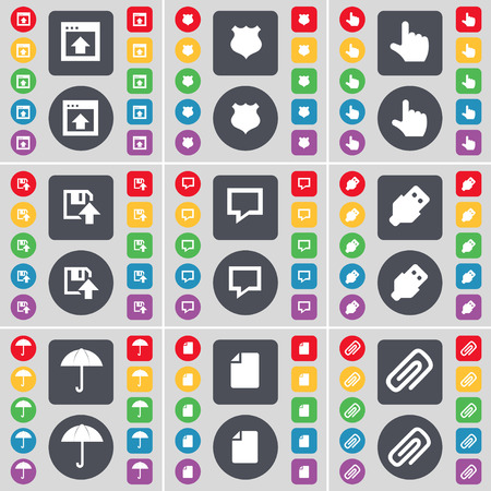 chat window: Window, Police badge, Hand, Floppy, Chat bubble, USB, Umbrella, File, Clip icon symbol. A large set of flat, colored buttons for your design. Vector illustration