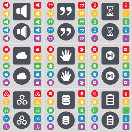 skip: Sound, Quotation mark, Hourglass, Cloud, Hand, Media skip, Gear, Database, Battery icon symbol. A large set of flat, colored buttons for your design. Vector illustration