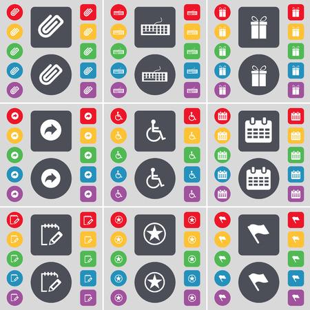 personne handicap�e: Clip, clavier, cadeaux, Retour, handicap�s, Calendrier, Enqu�te, Star, Drapeau ic�ne symbole. Un vaste ensemble de plats, des boutons de couleur pour votre conception. Vector illustration