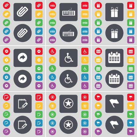 disabled person: Clip, Keyboard, Gift, Back, Disabled person, Calendar, Survey, Star, Flag icon symbol. A large set of flat, colored buttons for your design. Vector illustration
