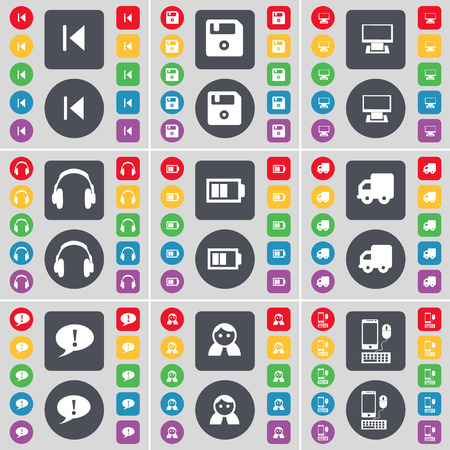 skip: Media skip, Floppy, Monitor, Headphones, Battery, Truck, Chat bubble, Avatar, Smartphone icon symbol. A large set of flat, colored buttons for your design. Vector illustration