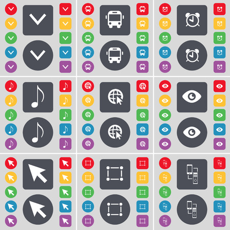 arrow down: Arrow down, Bus, Alarm clock, Note, Web with cursor, Vision, Cursor, Frame, Information exchange icon symbol. A large set of flat, colored buttons for your design. Vector illustration