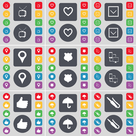 retro tv: Retro TV, Heart, Arrow down, Checkpoint, Police badge, Information exchange, Like, Umbrella, Microphone connector icon symbol. A large set of flat, colored buttons for your design. Vector illustration