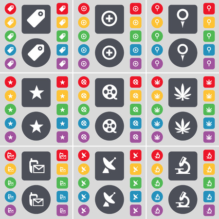 videotape: Tag, Plus, Checkpoint, Star, Videotape, Marijuana, SMS, Satellite dish, Microscope icon symbol. A large set of flat, colored buttons for your design. Vector illustration