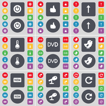 new arrow: Power, Like, Arrow up, Thermometer, DVD, Bird, New, Microphone, Reload icon symbol. A large set of flat, colored buttons for your design. Vector illustration Illustration
