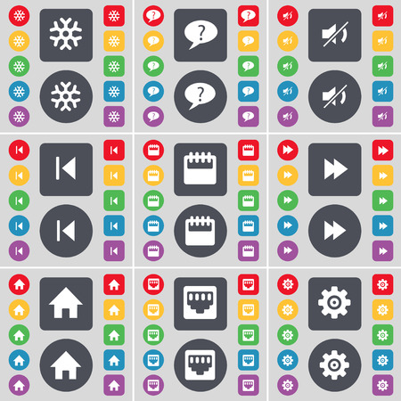 skip: Snowflake, Chat bubble, Mute, Media skip, Camera, Rewind, House, LAN socket, Gear icon symbol. A large set of flat, colored buttons for your design. Vector illustration Illustration