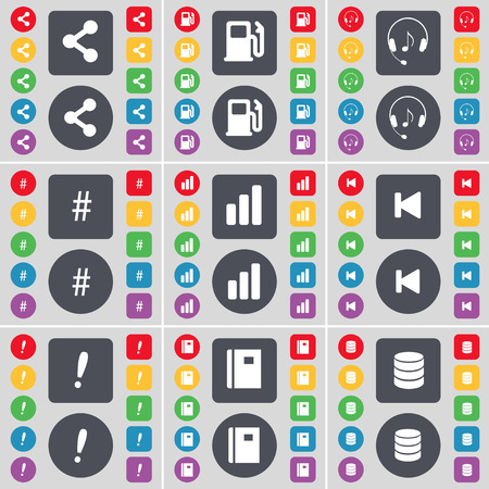 skip: Share, Gas station, Headphones, Hashtag, Diagram, Media skip, Exclamation mark, Notebook, Database icon symbol. A large set of flat, colored buttons for your design. Vector illustration