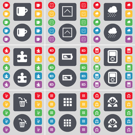 round button: Cup, Arrow up, Cloud, Puzzle part, Battery, Player, Trash can, Apps, Avatar icon symbol. A large set of flat, colored buttons for your design. Vector illustration