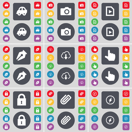 car lock: Car, Camera, Media file, Ink pen, Cloud, Hand, Lock, Clip, Flash icon symbol. A large set of flat, colored buttons for your design. Vector illustration