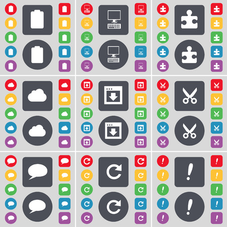 chat window: Battery, PC, Puzzle part, Cloud, Window, Airplane, Chat bubble, Reload, Exclamation mark icon symbol. A large set of flat, colored buttons for your design. Vector illustration