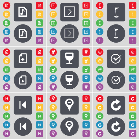 skip: Music file, Golf hole, Download file, Wineglass, Tick, Media skip, Checkpoint, Reload icon symbol. A large set of flat, colored buttons for your design. Vector illustration
