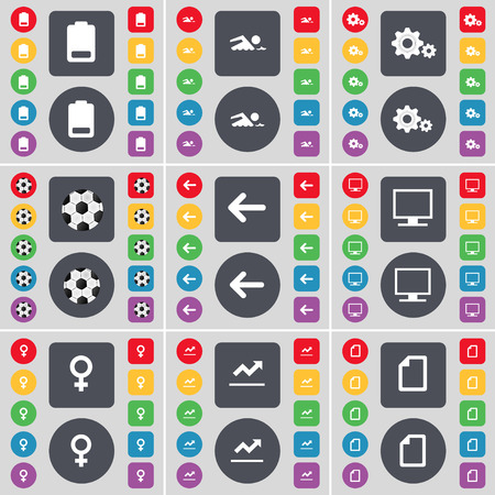 venus symbol: Battery, Silhouette, Gear, Ball, Arrow left, Monitor, Venus symbol, Graph, File icon symbol. A large set of flat, colored buttons for your design. Vector illustration