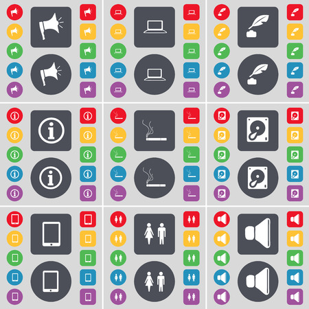 hard drive: Megaphone, Laptop, Ink pot, Information, Cigarette, Hard drive, Tablet PC, Silhouette, Sound icon symbol. A large set of flat, colored buttons for your design. Vector illustration