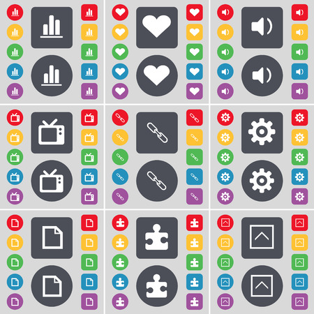 retro tv: Diagram, Heart, Sound, Retro TV, Link, Gear, File, Puzzle part, Arrow up icon symbol. A large set of flat, colored buttons for your design. Vector illustration Illustration