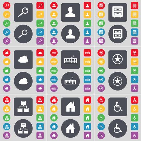 personne handicap�e: Loupe, Avatar, lit-table, Nuage, clavier, Star, R�seau, Maison, handicap�s symbole de l'ic�ne. Un vaste ensemble de plats, des boutons de couleur pour votre conception. Vector illustration