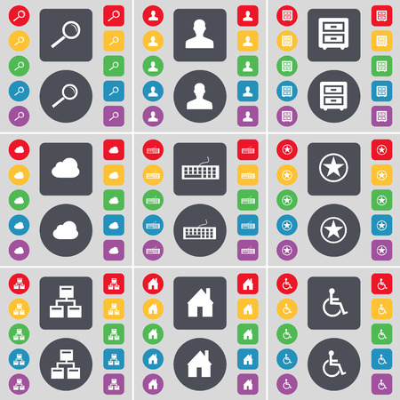bedtable: Magnifying glass, Avatar, Bed-table, Cloud, Keyboard, Star, Network, House, Disabled person icon symbol. A large set of flat, colored buttons for your design. Vector illustration Illustration