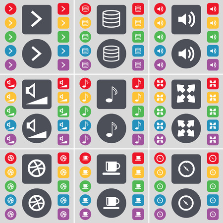 full screen: Arrow right, Database, Sound, Volume, Note, Full screen, Ball, Cup, Compass icon symbol. A large set of flat, colored buttons for your design. Vector illustration Illustration