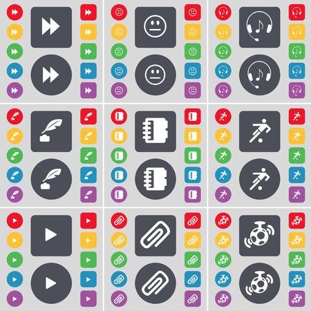 inkpot: Rewind, Smile, Headphones, Inkpot, Notebook, Football, Media play, Clip, Microphone icon symbol. A large set of flat, colored buttons for your design. Vector illustration